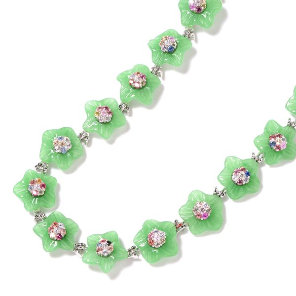 Carved Green Jade and Multi Sapphire Floral Necklace (Size 18) in Rhodium Overlay Sterling Silver 116.20 Ct, Silver wt 12.68 Gms