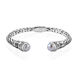 Bali Legacy Collection Mabe White Pearl (Rnd) Cuf Bangle (Size 7.5) in Sterling Silver, Silver wt 23