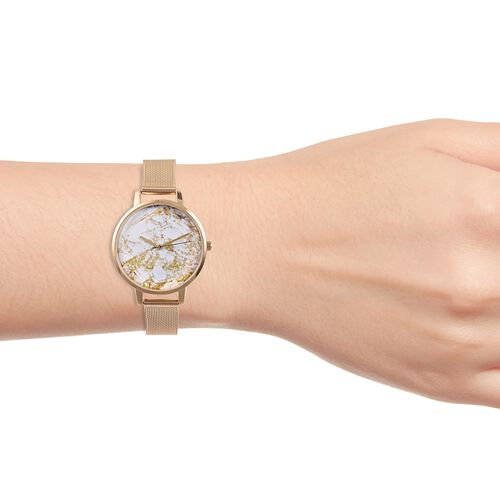 STRADA Stainless Steel Marble effect  Japanese Movement Watch -  Gold