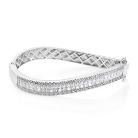 J Francis - Platinum Overlay Sterling Silver (Bgt and Rnd) Bangle (Size - 7.75) Made with SWAROVSKI