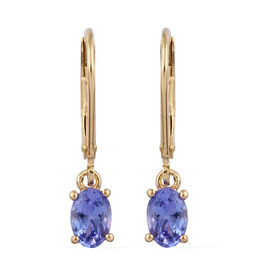 Tanzanite (Ovl) Lever Back Earrings in 14K Gold Overlay Sterling Silver 0.750  Ct.