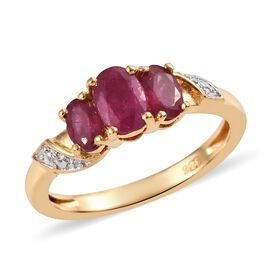 African Ruby (1.30 Ct) 14K Gold Overlay Sterling Silver Ring  1.300  Ct.