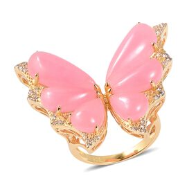 20.20 Ct Pink Jade and Zircon Butterfly Ring in Gold Plated Sterling Silver 6.42 Grams