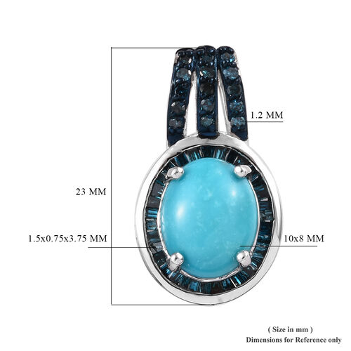 Arizona Sleeping Beauty Turquoise (Ovl 10x8mm), Diamond Pendant in Platinum Overlay Sterling Silver 2.38 Ct.