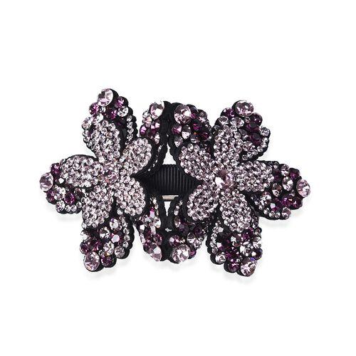 Flower Hair Clip - Dark Purple and Light Purple