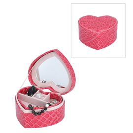 Two Layer Heart Shaped Croc Pattern Jewellery Box with Inside Mirror (Size 14x12.5x7 Cm) - Rose Red