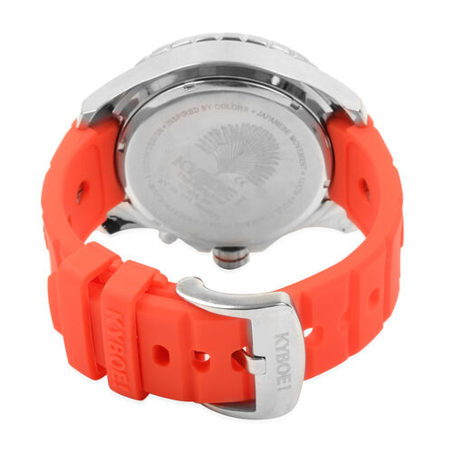 KYBOE Japanese Movement 100M Water Resistant Silver Flare LED Watch  in Stainless Steel with Rotating Bezel and Red Strap - 55MM Watch