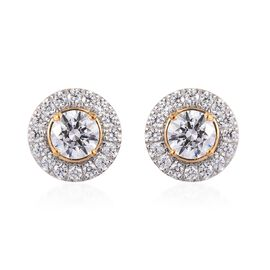 J Francis - 14K Gold Overlay Sterling Silver (Round) Stud Earrings (with Push Back) Made with SWAROV