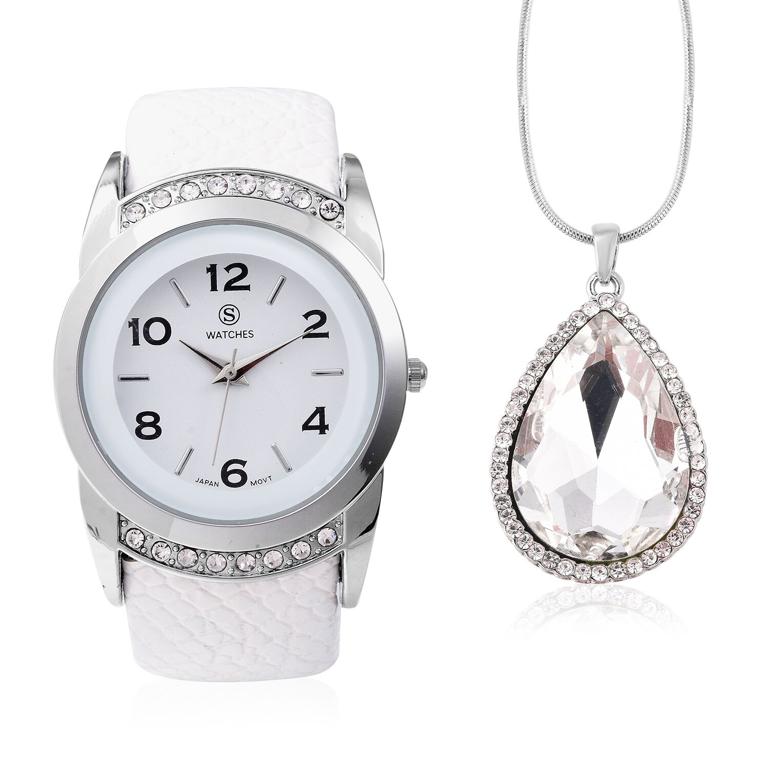 2 Piece Set STRADA Japanese Movement Water Resistant Bangle Watch with Simulated Diamond and White Austrian Crystal Pendant With Chain in Silver