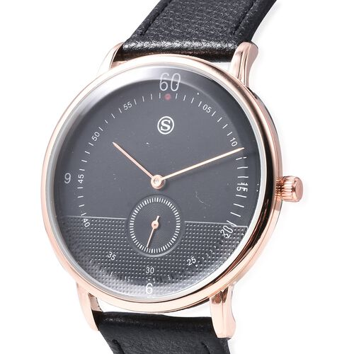 STRADA Water Resistance Watch with Black Colour Strap in Rose Gold Plated