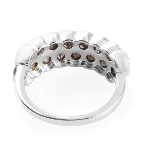 J Francis - Crystal from Swarovski White Crystal Half Eternity Ring in Sterling Silver