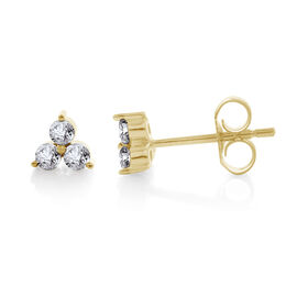 9K Yellow Gold SGL Certified Diamond (Rnd) (I3 G-H) Stud Earrings (with Push Back)