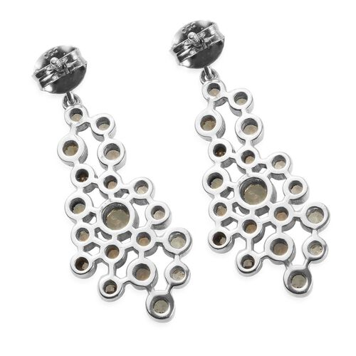 Alexandrite Dangle Earrings (with Push Back) in Platinum Overlay Sterling Silver 1.55 Ct, Silver wt 5.91 Gms