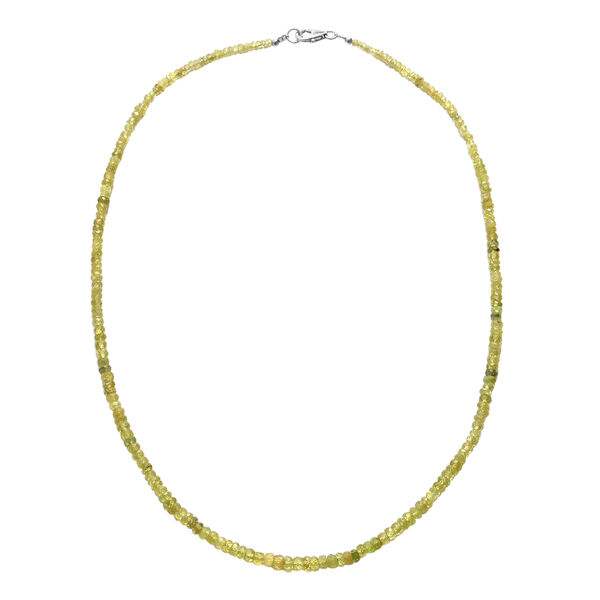 52 Ct Sava Sphene Beaded Necklace in Rhodium Plated Silver 18 Inch
