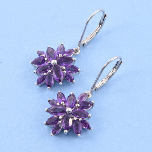 Amethyst (Mrq) Lever Back Earrings in Platinum Overlay Sterling Silver 3.750 Ct.