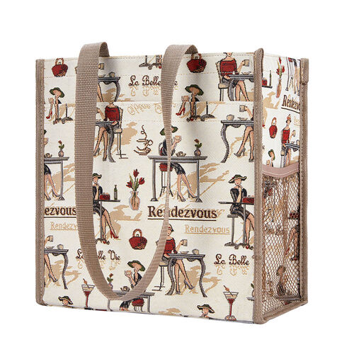 Signare Tapestry - 2 Piece Set - Rendezvous Shopping Bag (17X6X22cm) and Umbrella in Beige