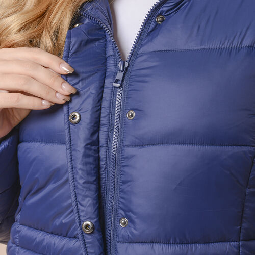 Winter Puffer Jacket with Middle Zip In Blue (Size: S, 10-12)