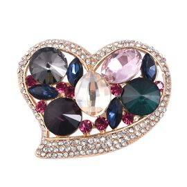 Multi Colour Simulated Diamond, Fuchia and White Austrian Crystal Heart Brooch