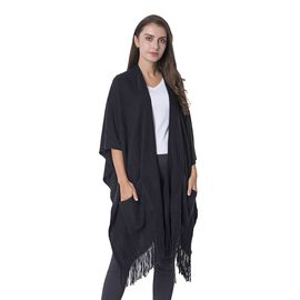 Black Colour Wrap with 2 Pockets and Tassels (Free Size)