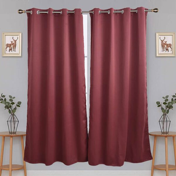 2 Piece Set- Rosewood Colour Blackout Curtains with 8 Metal Eyelets Size  140x240cm - 3710526 - TJC