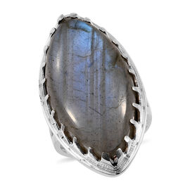 Artisan Crafted Labradorite (Mrq 30x15 mm) Ring in Sterling Silver 24.970 Ct, Silver wt 7.60 Gms
