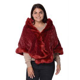 Stripe Pattern Super Soft Faux Fur Kimono with Fluffy Border (Size 65x55 Cm) - Wine