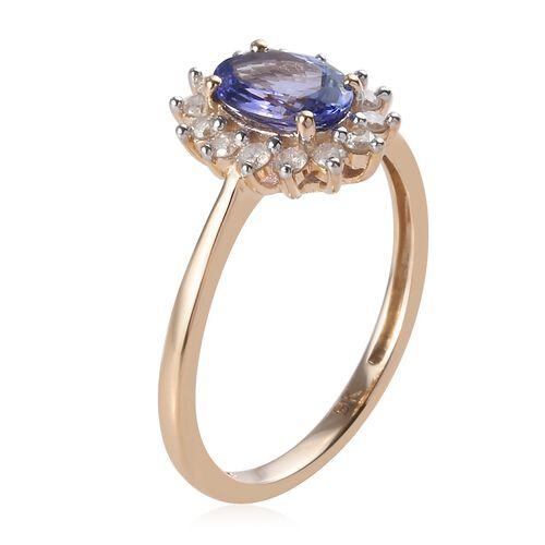 9K Yellow Gold  AA Tanzanite (Ovl), Diamond Halo Ring 1.000 Ct.