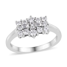 ILIANA 18K W Gold IGI Certified Diamond (Rnd and Bgt, SI/G-H) Ring 0.500 Ct.