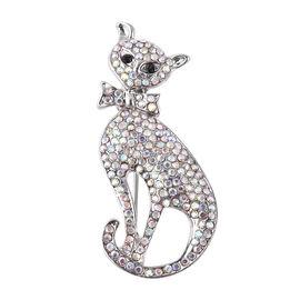 Simulated Mystic White Crystal and Black Austrian Crystal Cat Brooch in Silver Tone