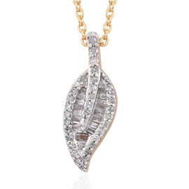 GP- Energy of Life Collection- Diamond (Bgt and Rnd), Kanchanaburi Blue Sapphire Leaf Pendant With C