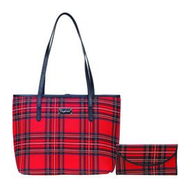 SIGNARE - Tapestry Collection- 2 Piece Set Royal Stewart Tartan College Bag (Size 33x27x15 cms) and