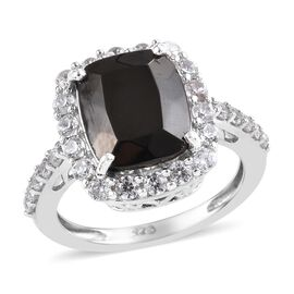 Elite Shungite (Cush 2.55 Ct), Natural Cambodian Zircon Ring in Platinum Overlay Sterling Silver 3.7