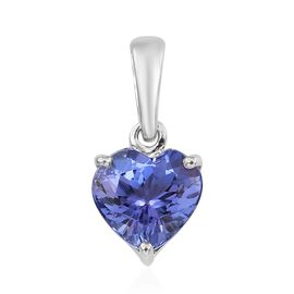 9K White Gold 1.20 Ct AA Tanzanite Solitaire Heart Pendant