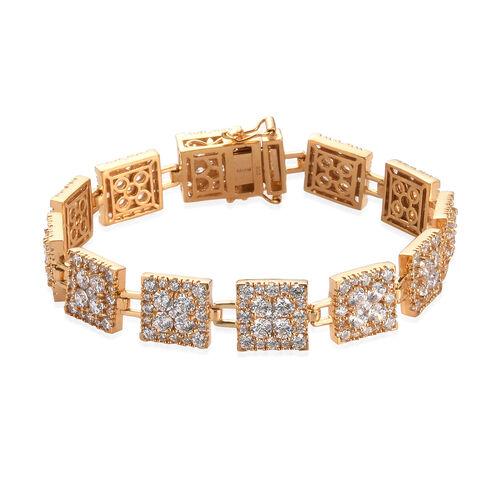J Francis 14K Gold Overlay Sterling Silver Bracelet (Size 7.5) Made with SWAROVSKI ZIRCONIA 28.38 Ct