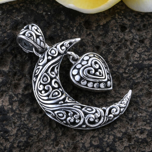 Bali Legacy Collection Sterling Silver Crescent Moon with Heart Drop Pendant