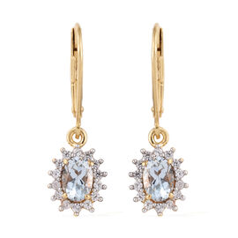 Espirito Santo Aquamarine (Ovl), Natural Cambodian Zircon Lever Earrings in 14K Gold Overlay Sterlin
