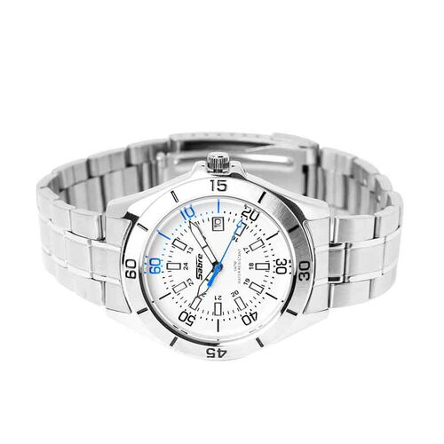 SABRE Japanese Movement White Dial Water Resistant Watch in Silver Tone