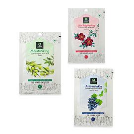 Set of 3 - Biodegradable Organic Sheet Masks - Anti-Wrinkle, Moisturizing and Skin Brightening