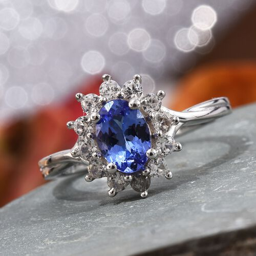 AA Tanzanite (Ovl), Natural Cambodian Zircon Ring in Platinum Overlay Sterling Silver 1.250 Ct.