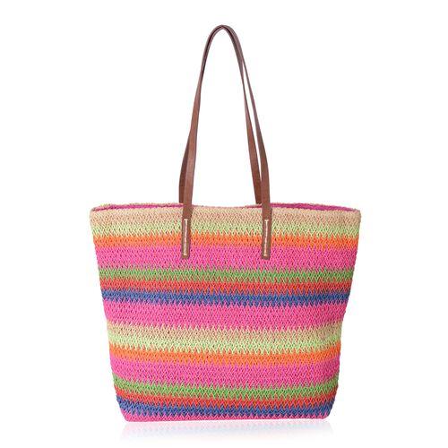 St. Tropez Collection- Fuchsia and Rainbow Colour Stripe Pattern Straw Tote Beach Bag (Size 47x37x34