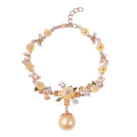 Jardin Collection - Golden South Sea Pearl, Yellow Mother of Pearl and Multi Gemstone Enameled Brace