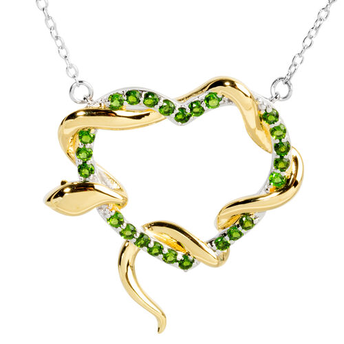 Designer Inspired- Russian Diopside (Rnd) Heart Necklace (Size 18) in Rhodium and Gold Overlay Sterl
