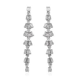 0.50 Carat Diamond Dangle Earrings in Platinum Plated Sterling Silver