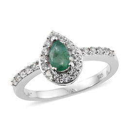 0.86 Ct Zambian Emerald and Cambodian Zircon Halo Ring in Platinum Plated Sterling Silver