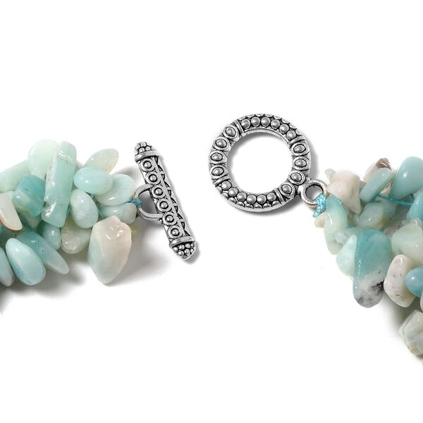 3 Piece Set - Russian Amazonite Necklace (Size 18), Stretchable Bracelet (Size 7) and Hook Earrings in Stainless Steel 927.85 Ct.