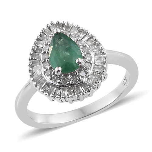 1 Carat AA Zambian Emerald and Diamond Halo Ring in Platinum Plated Sterling Silver