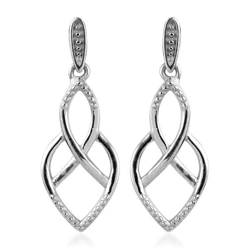 Platinum Overlay Sterling Silver Dangle Earrings (with Push Back)