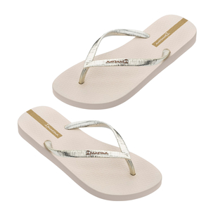Ipanema Glam Shimmer Flip Flop in Gold Ivory (Size 3)