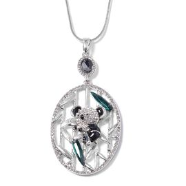 Simulated Emerald, Simulated Grey Spinel and White Austrian Crystal Panda Pendant With Chain (Size 2