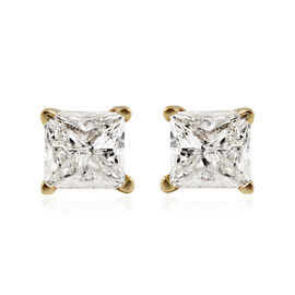 CloseOut Deal - 14K Yellow Gold EGL Certified Diamond (Princess Cut) (I2-I3/H-I) Earrings (with Push